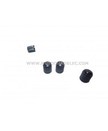 4 capuchons de valve Schrader en plastique noir.